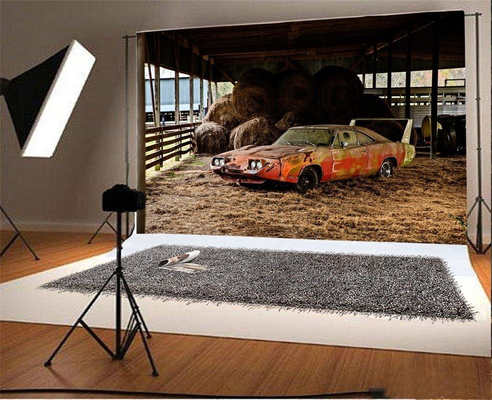 YongFoto 2,2x1,5m Vinyle Toile de Fond Grange Voiture Ancienne Botte de Foin de Paille Lautomne Fond D/écors Studio Photo Portrait Enfant Video Fete Mariage Photobooth Photographie Accesorios