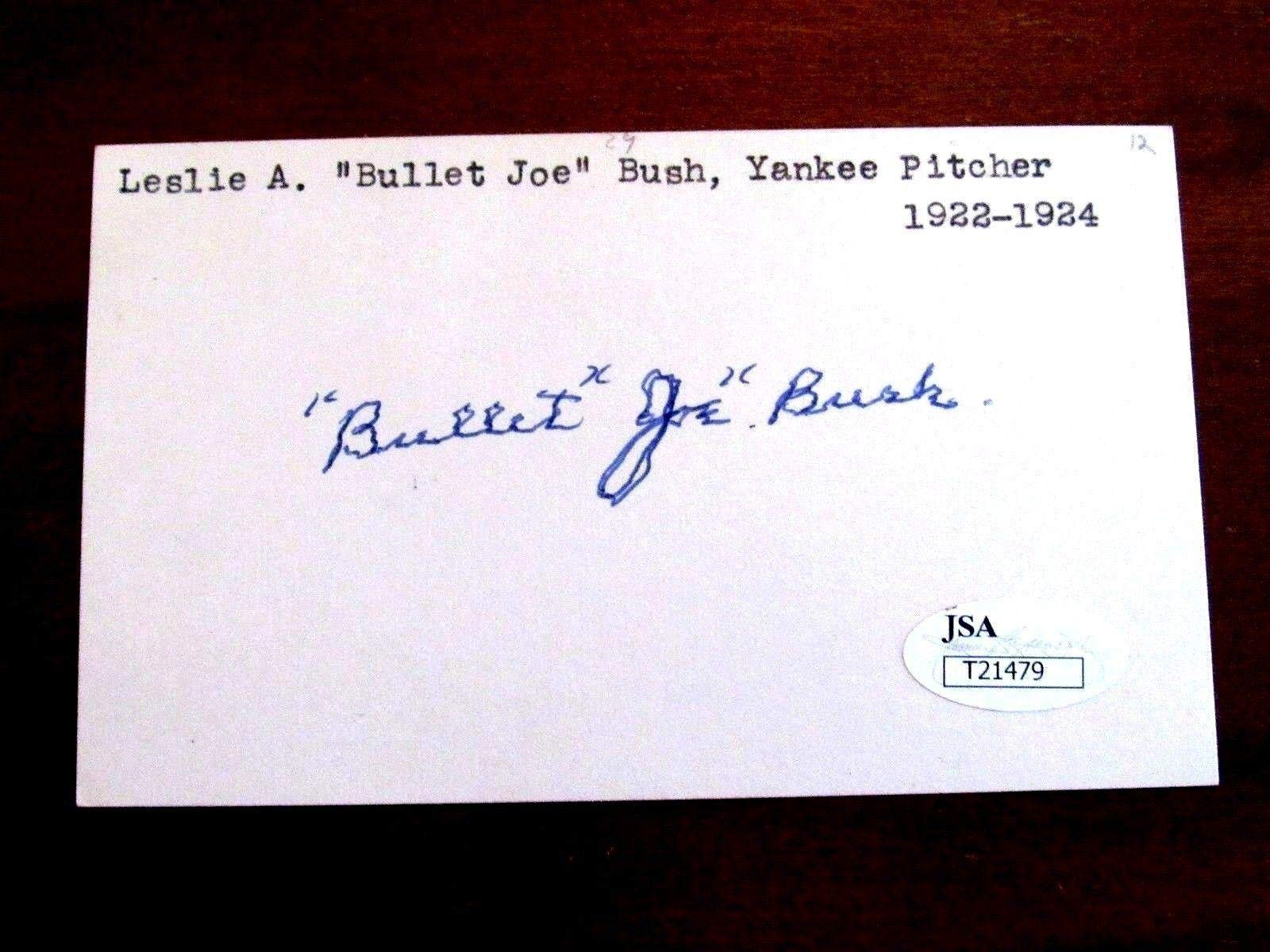 Bullet Joe Bush 1923 Wsc New York Yankees Signed