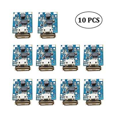 10Pcs Boost Step Up 5V 1A Power Supply Module Lithium Battery Charge Protection Board 134N3P DIY Charger USB and Micro USB Port with LED Display: Home Audio & Theater
