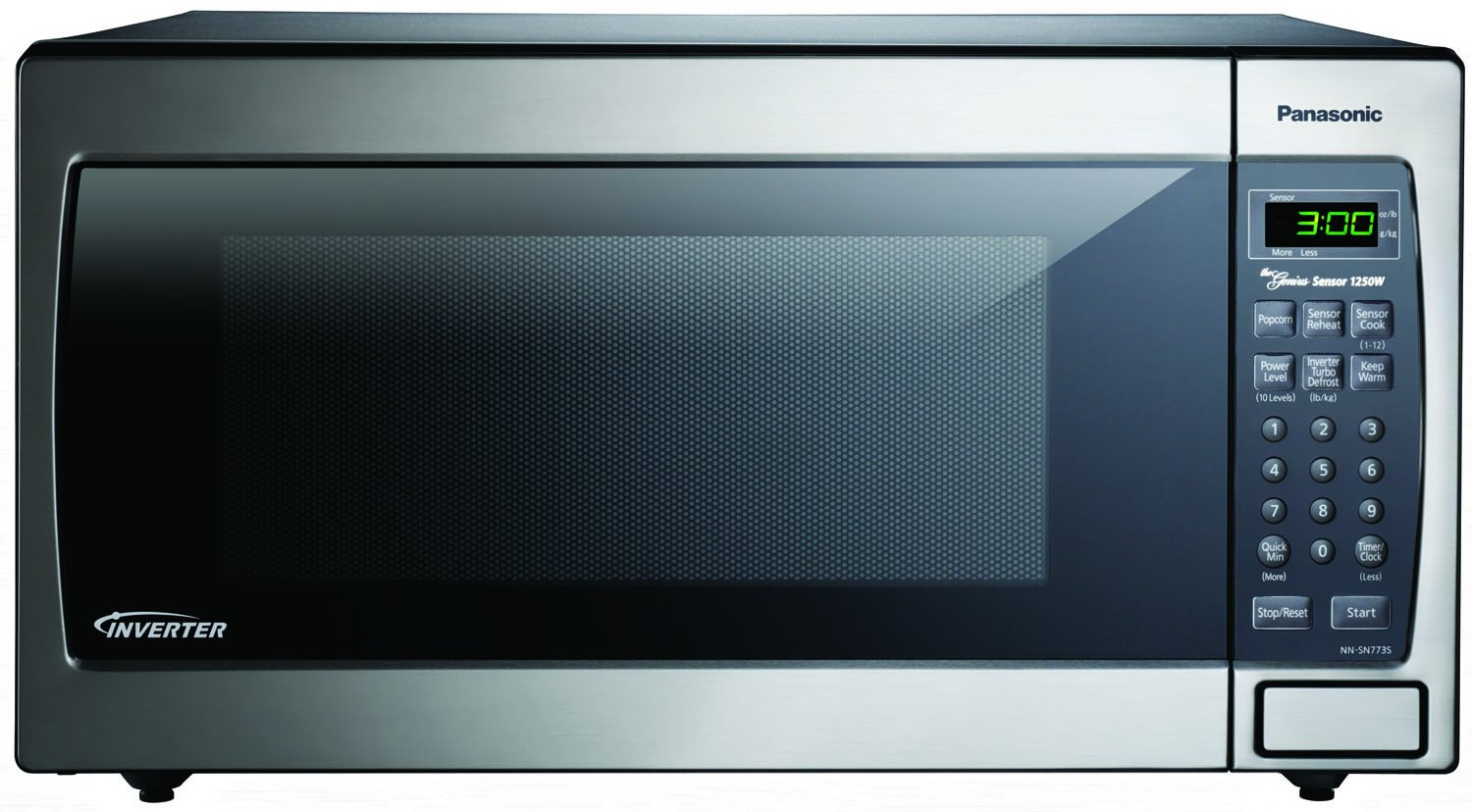 Panasonic NN-SN773SAZ Stainless 1.6 Cu. Ft. Countertop Built-In Microwave with Inverter Technology, Stainless Steel/Silver