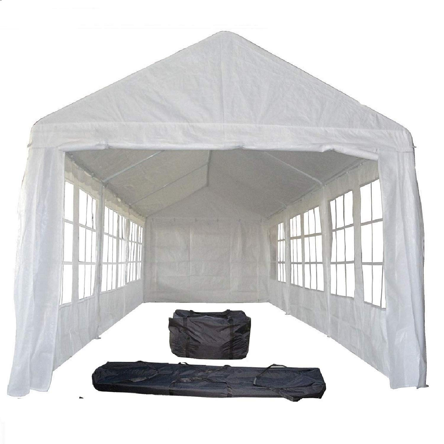 DELTA Canopies 30 x10 PE Tent White PE3010 – Wedding Party Tent Canopy Carport – with Storage Bags