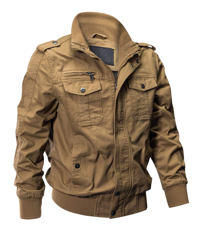 EKLENTSON Men's Cotton Military Jackets Casual Outdoor Coat Windbreaker Jacket Khaki by EKLENTSON