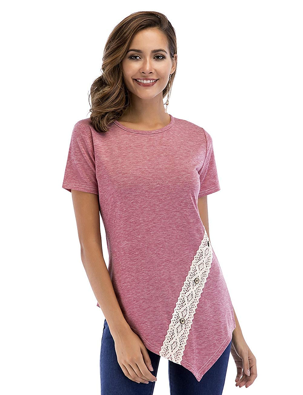 Pink YUMDO Women's Casual Short Sleeve Side Button T Shirt Blouse Tunics