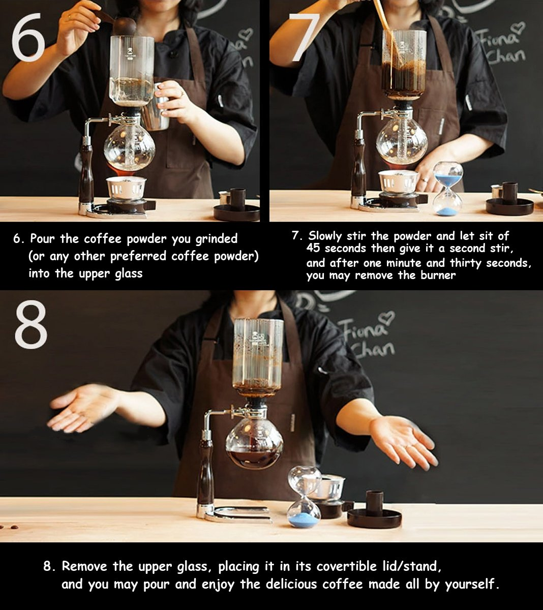 Minimalist Vacuum Siphon Coffee Maker, Easy Use Glass Tabletop Syphon Coffee Brewing Machine with Alcohol Burner, 5 Cup (Black) by TIMEMORE