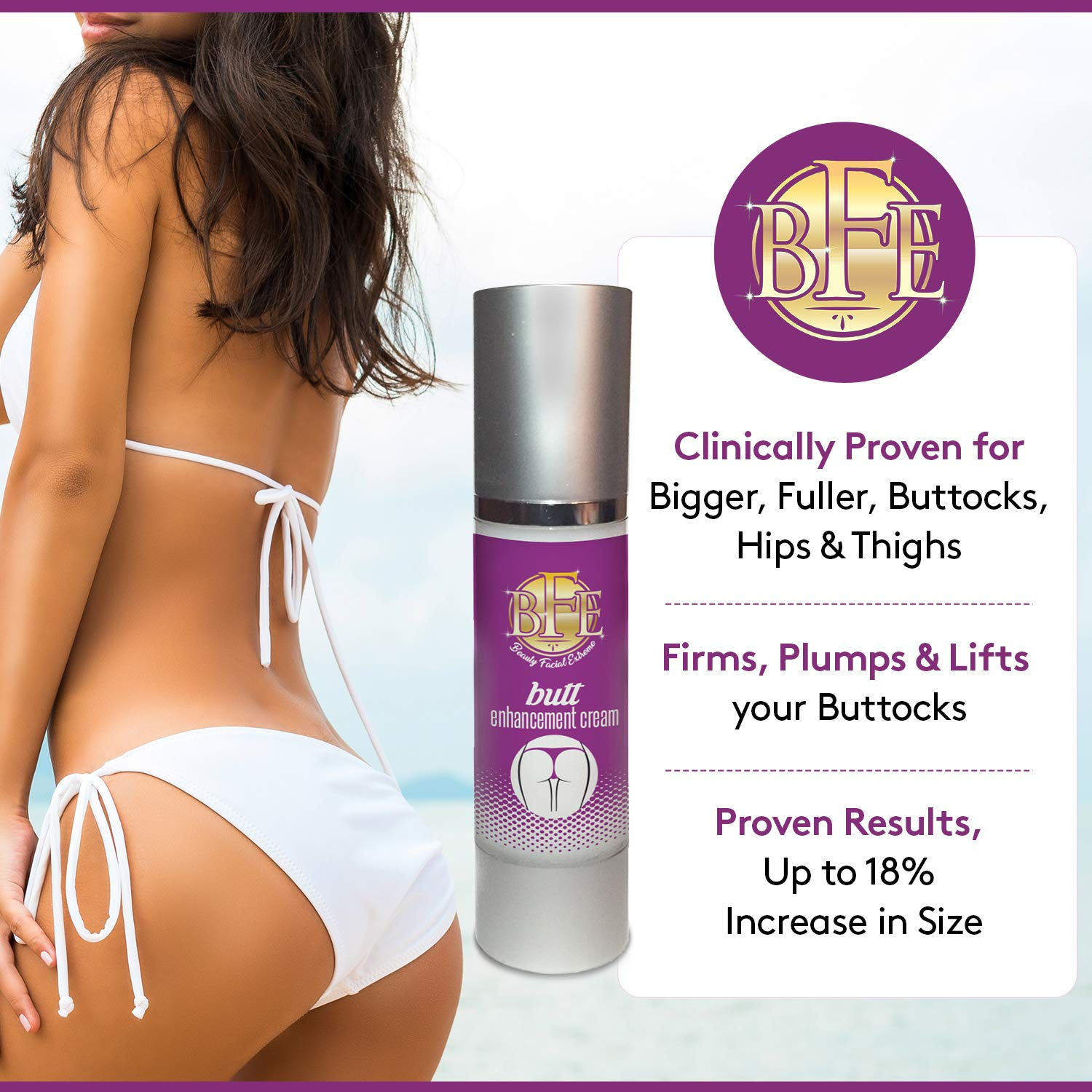 Butt Enhancement Enlargement Cream- Clinically Proven for Bigger, Fuller, Buttocks, Hips Thighs. Firms, Plumps Lifts your Booty. Natural Enhancer for Men Women.