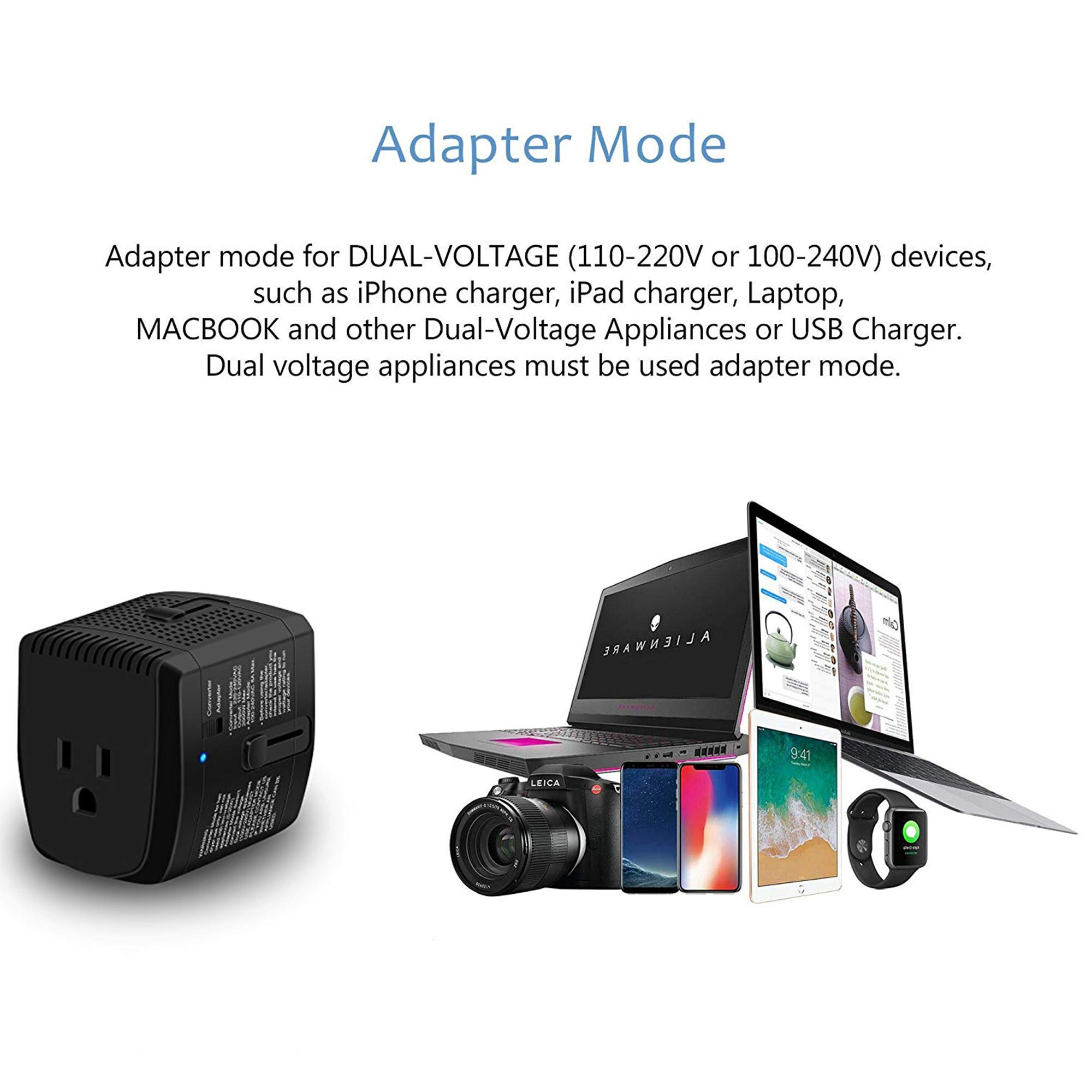 2000W Step Down Voltage Converter 220V to 110V and Universal Travel Plug Adapter Combo for Hair Dryer Steam Iron Cell Phone Laptop MacBook - Plug Adaptor US to Europe, UK, AU, Asia Over 150 Countries by ElecLead (Image #3)