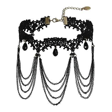 a85732f7723 AnazoZ Bijoux Fantaisie Collier Fille Ras du Cou Noir Velours Choker  Gothique