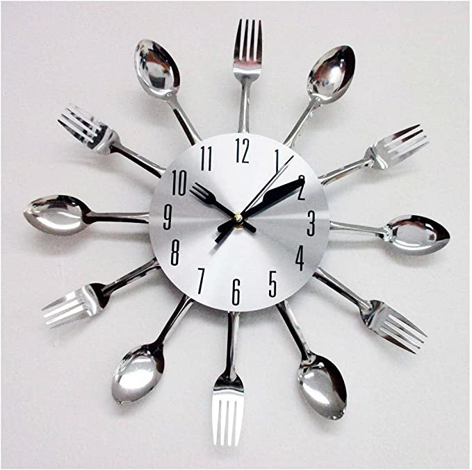 Amazon.com: Modern Design Silver Cutlery Kitchen Utensil Clock Spoon Fork Knife Bendable New