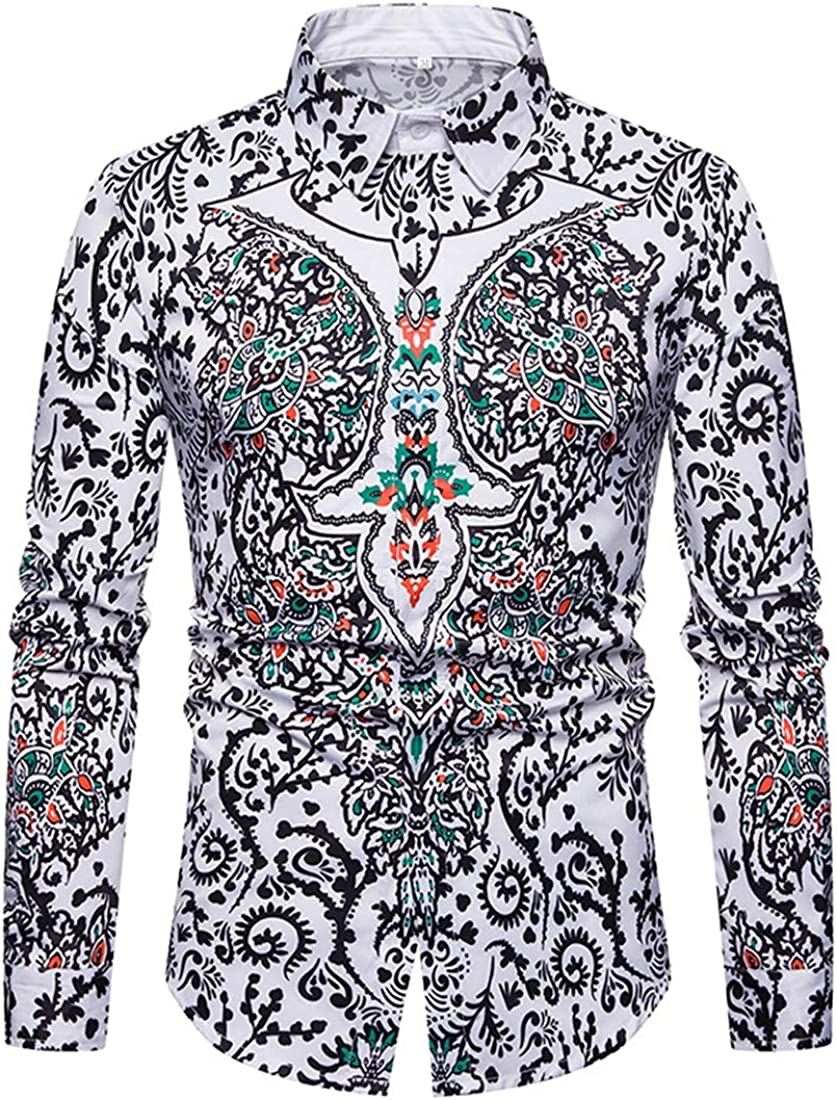 Alion Mens Classic Fit Rose Design Slim Fit Button Down Floral Printed Dress Shirts