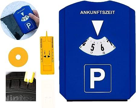 Gibtplus Parkscheibe 5 In 1 Parkuhr Mit Reifenprofiltiefenmesser Eiskratzer Und Einkaufswagenchip Kunststoff Blau Fürs Autos Auto