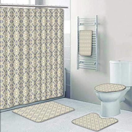 Amazon Com 5 Piece Bathroom Rug Set 3 Piece Bath Rugs With Fabric