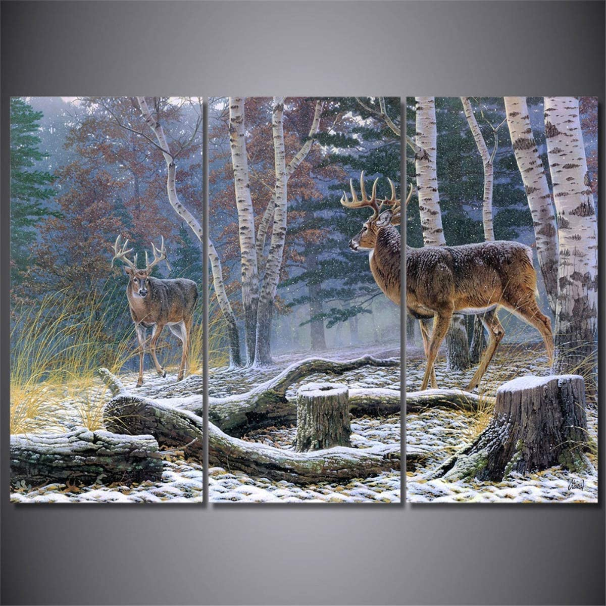 DOLUDO 3 Panel Canvas Wall Art Animal Deer Landscape Painting Modern Picture for Home Decor Living Room Bedroom Ready to Hang