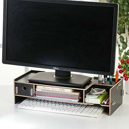 Soporte de madera Dreamacces para TV o pantalla de ordenador: cajón extra, bolsillo para teléfono móvil, estante para libro, recipiente para bolígrafos, organizador de artículos cotidianos multicolor Style 2 Mediano: Amazon.es: Informática