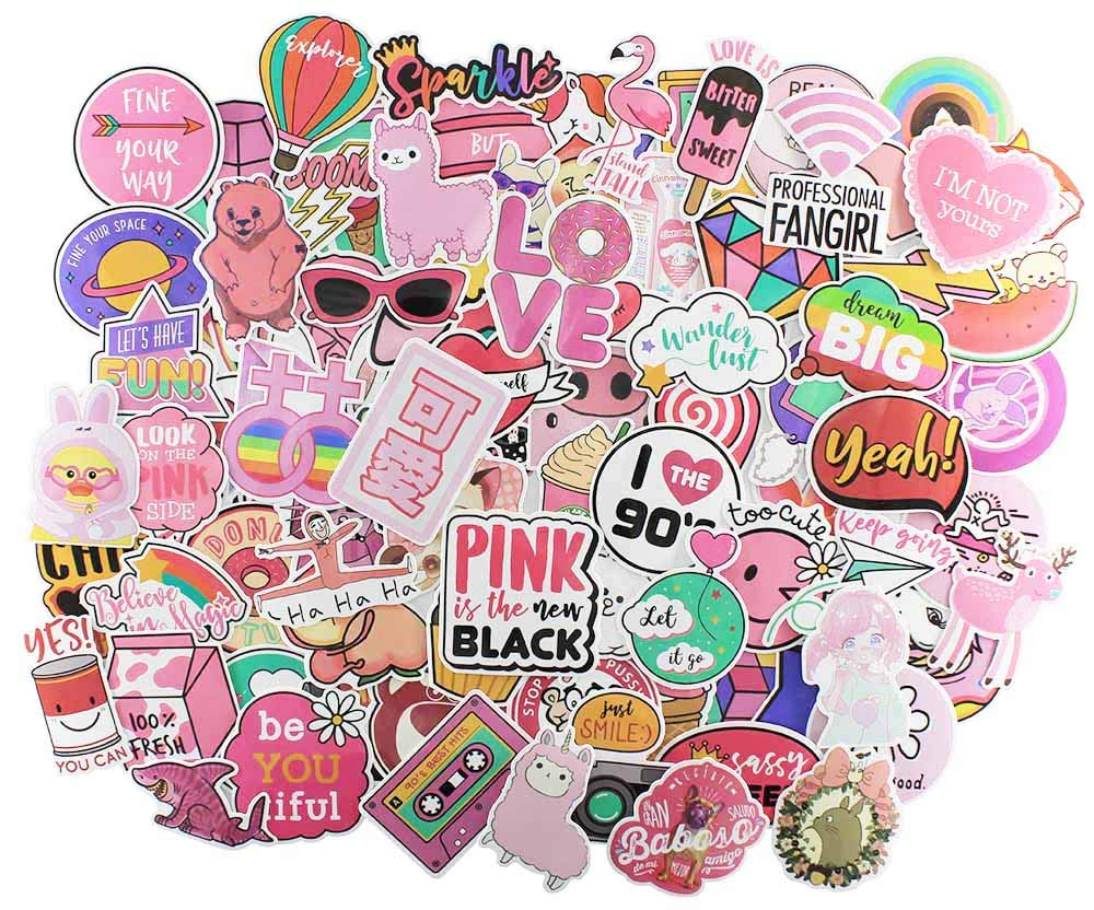 Cute stickers 110 pcs girl coolest funny vinyl decals sticker for water bottles kids laptop motorcycle skateboard snowboard car lovely fun aesthetic
