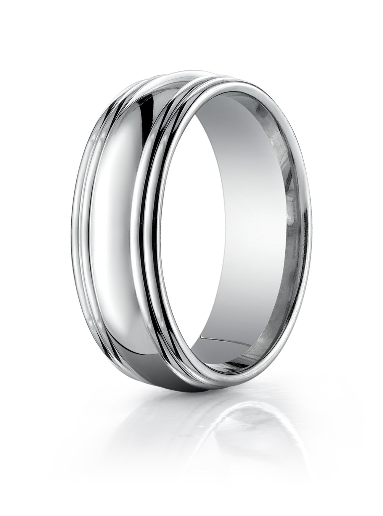 Womens 14K White Gold, 7.5mm Comfort-Fit Polished Double Round Edge Band (sz 5)