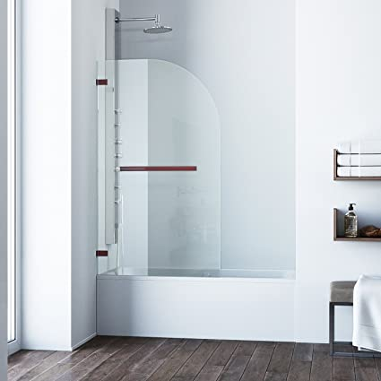 Vigo Orion 34 In Curved Bathtub Door With 3125 In Clear Glass And