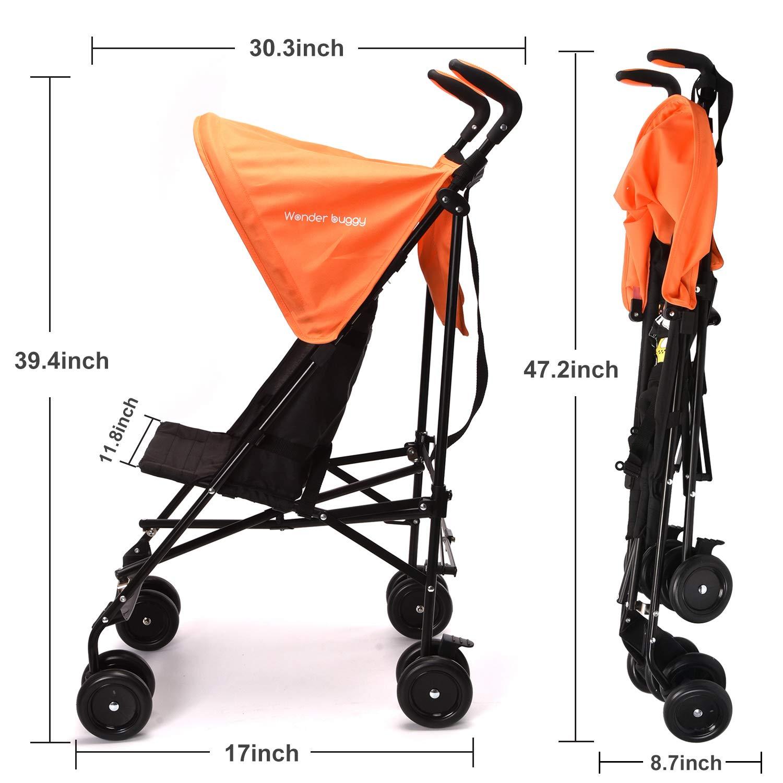 Wonder buggy Lightweight Baby Jumbo Umbrella Stroller with Rounded Hood (Orange) by Wonder buggy (Image #6)