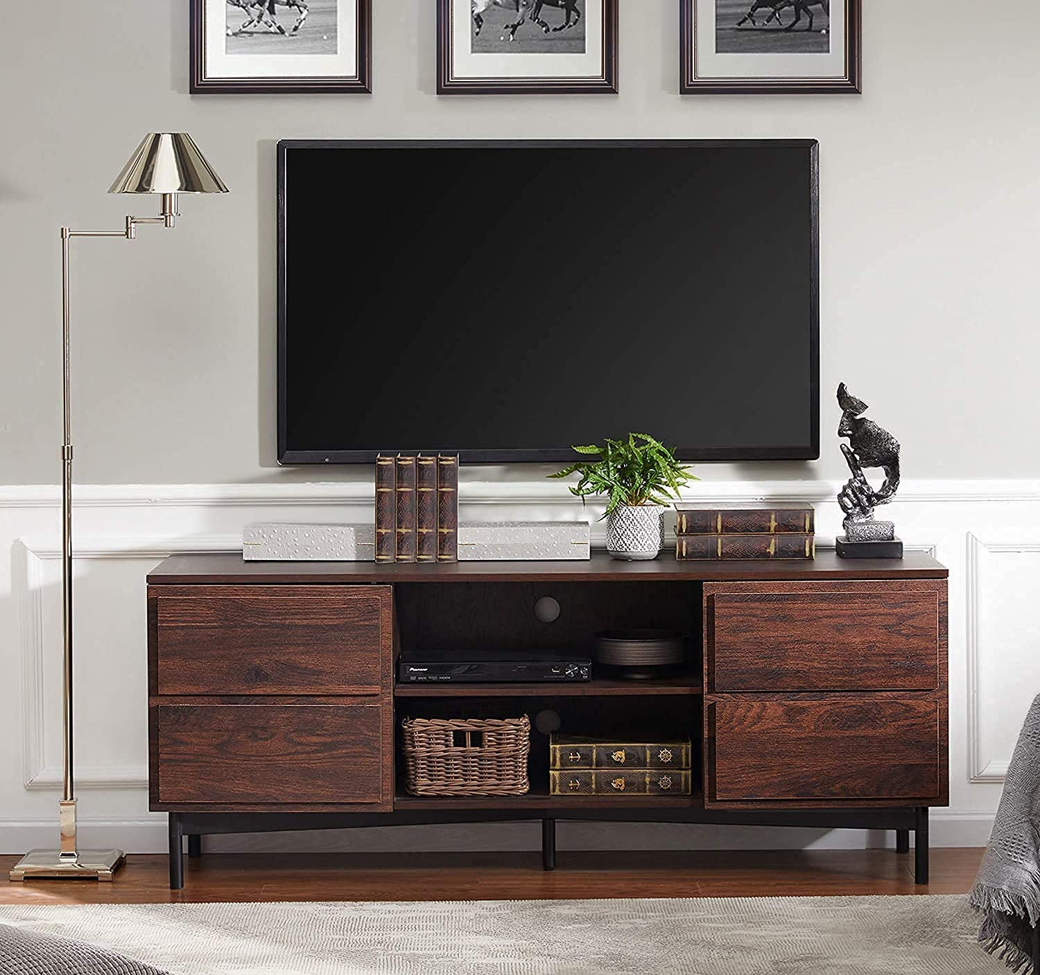 WAMPAT Wood Mid Century Modern TV Stand, Rustic Walnut Television Stands Media Entertainment Center with Storage for TVs up to 65''