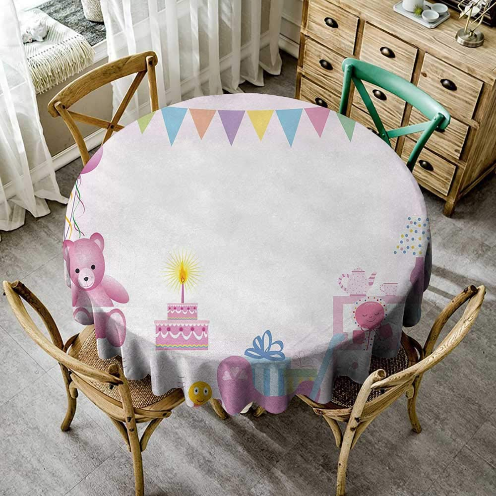 polyester round tablecloth 70 inch Kids Birthday,Baby Girl Birthday Celebration Party with Flags and Bears Cute Toys Print,Light Pink Great for Buffet Table, Parties, Holiday Dinner & More by Wendell Joshua (Image #1)
