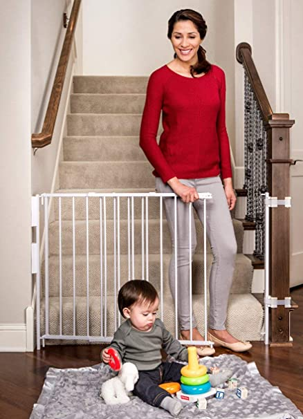 Amazon Com Regalo Extra Tall And Wide 2 In 1 Stairway And Hallway Wall Mounted Baby Gate Bonus Kit Includes Banister And Wall Mounting Kit Indoor Safety Gates Baby