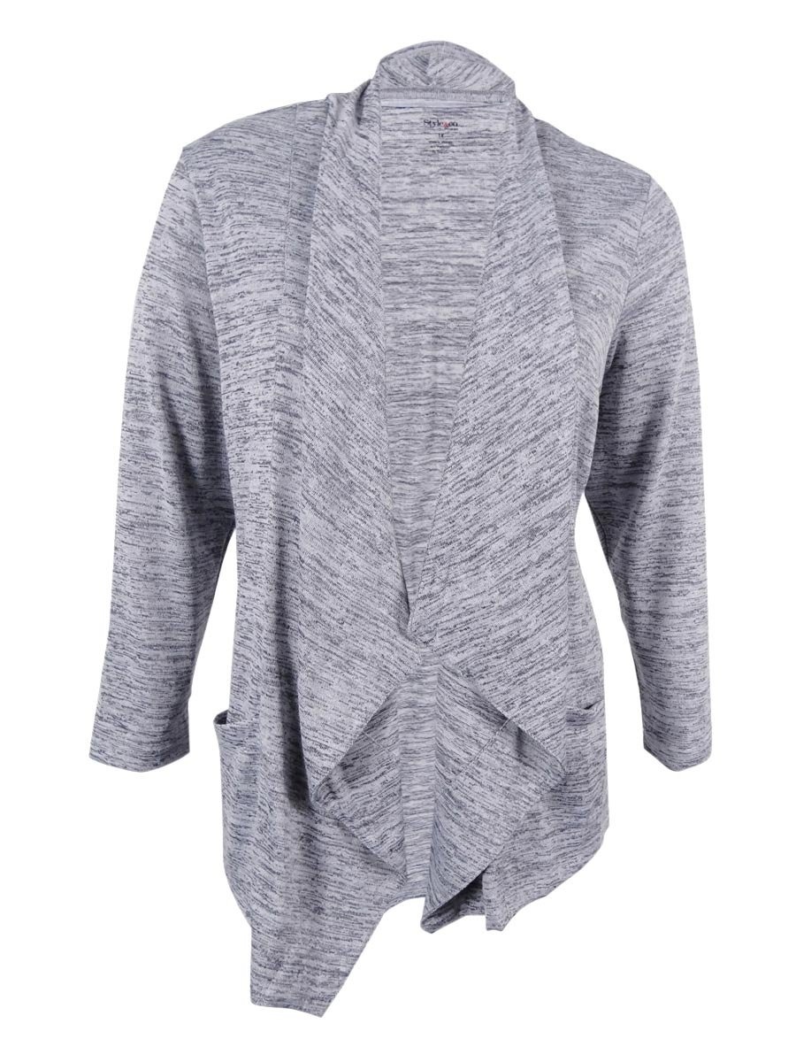 Style & Co. Womens Plus Melange Open Front Cardigan Sweater Gray 2X