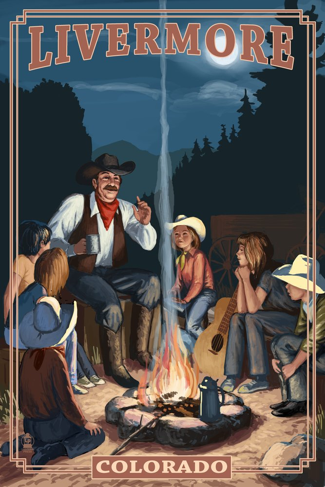 Livermore、コロラド – カウボーイCampfire Story Telling 36 x 54 Giclee Print LANT-49315-36x54 36 x 54 Giclee Print  B017EA10XY