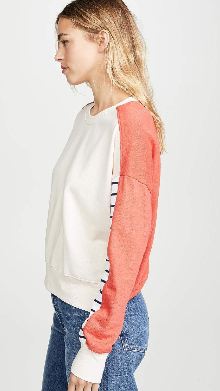 SUNDRY Womens Stripe Colorblock Sweatshirt