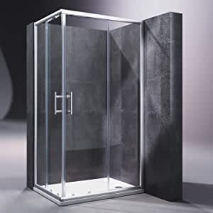 SONNI Mampara Ducha 100x80cm,Angular Puertas Corredera,Cabina de Ducha Retangular con Vidrio Templado de Seguridad 5mm con Plato de Ducha: Amazon.es: Bricolaje y herramientas