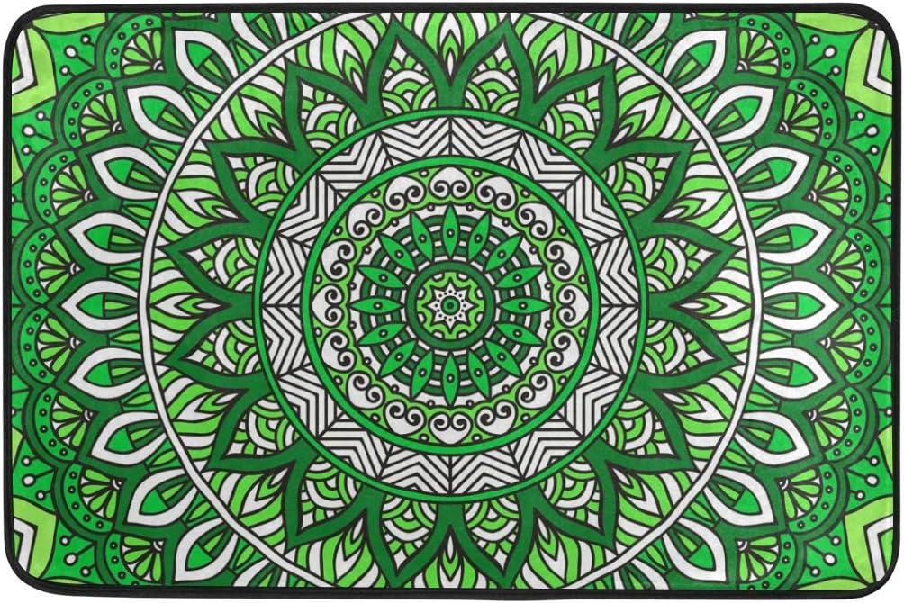Tapis de Bain de Cuisine Vert Indien Mandala Boh/ème Int/érieur Tapis de Pieds ISAOA Paillasson antid/érapant et Lavable Paillasson pour lint/érieur sans Coutures 60 x 40 cm
