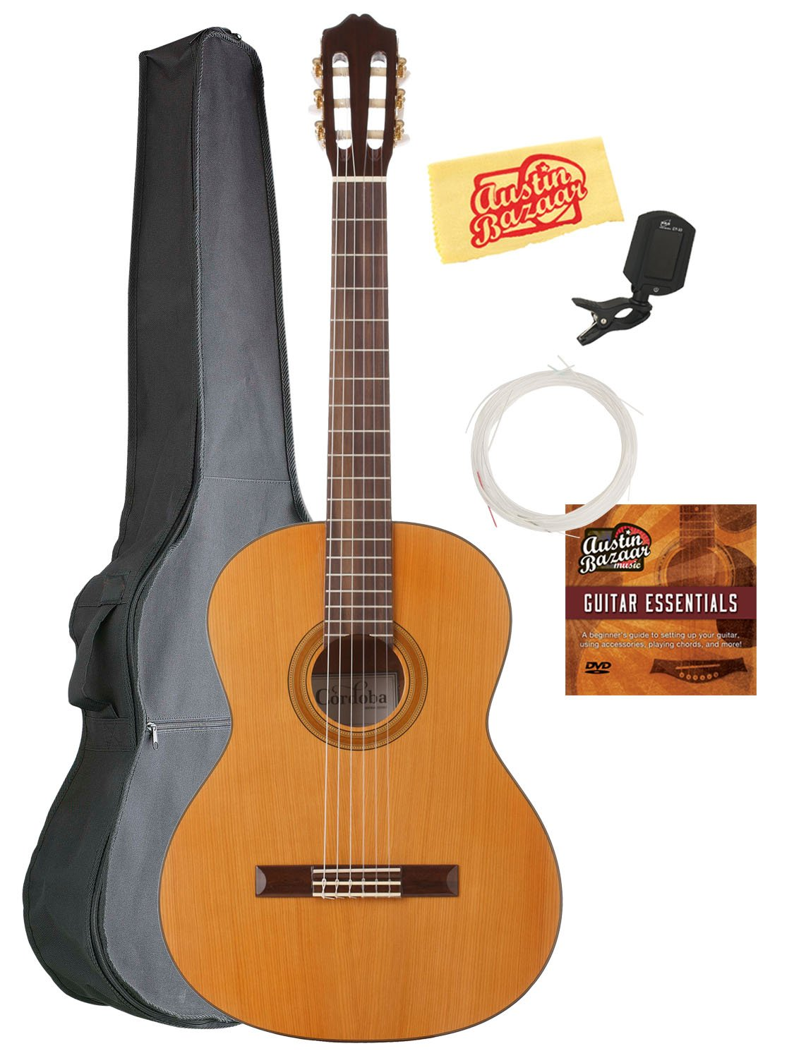 Cordoba C3M Classical Guitar Bundle with Gig Bag, Tuner, Austin Bazaar Instructional DVD, and Polishing Cloth