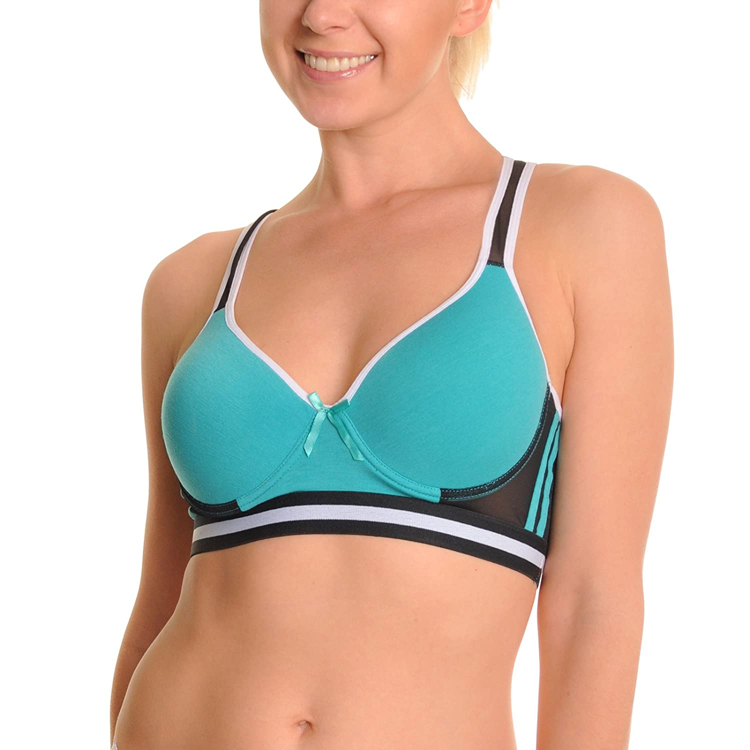 Angelina Wired Cotton Sports Bra with Mesh Racer Back (6-Pack) at ...