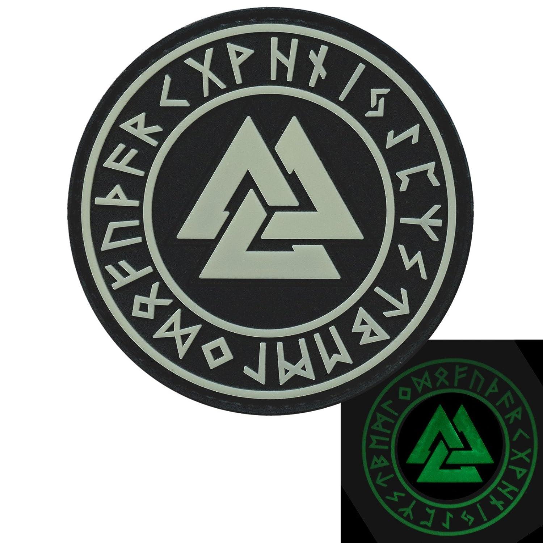Glow Dark Valknut Norse Heathen Rune Odin Viking Runic Pagan Morale PVC Rubber Fastener Patch 2AFTER1 P.1823.1.V