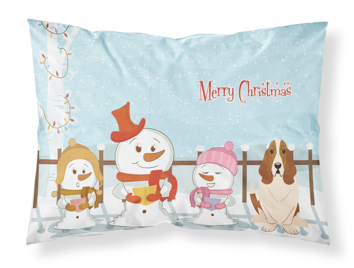 Carolines Treasures Merry Christmas Carolers Basset Hound Fabric Standard Pillowcase BB2352PILLOWCASE Multicolor