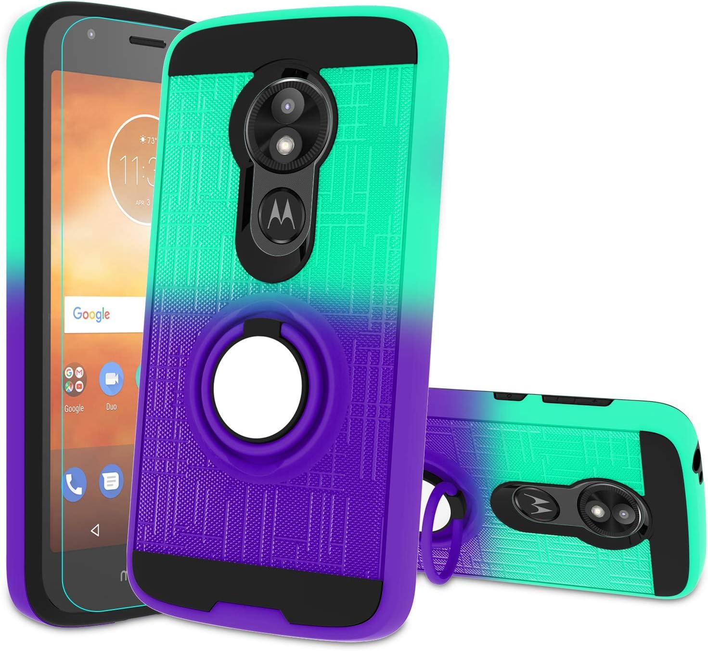 Atump Moto E5 Play Case, Moto E5 Cruise Phone Case with HD Screen Protector, 360 Degree Rotating Ring Holder & Kickstand Bracket Cover Phone Case for Motorola Moto E5 Play Mint/Purple