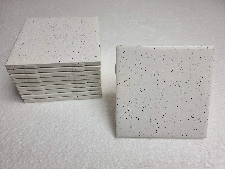 Salt Pepper Ceramic Tile 4 in White Black Speckled Dots Specs Vintage Retro Mosaic 10 Piece Box