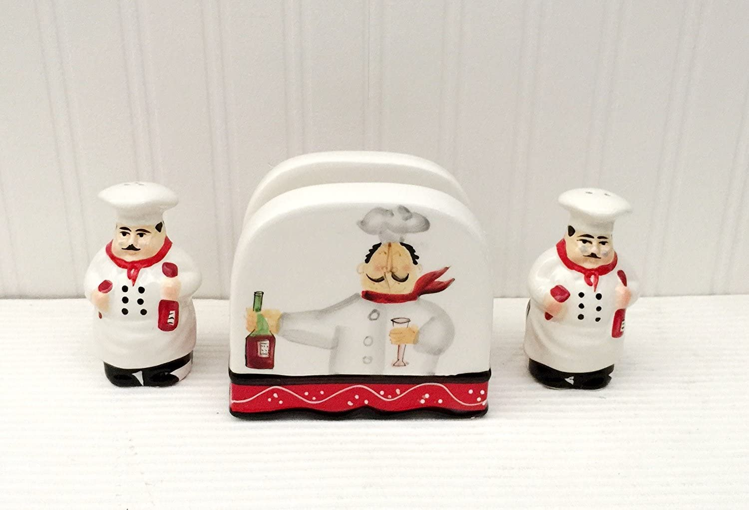 Tuscany Colorful Plump Bistro Chef Hand Painted Napkin, Salt & Pepper Shakers Set of 3pcs, 89128 by ACK