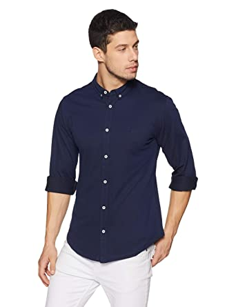 United Colors of Benetton Men's Solid Slim Fit Casual Shirt Men's Casual Shirts at amazon