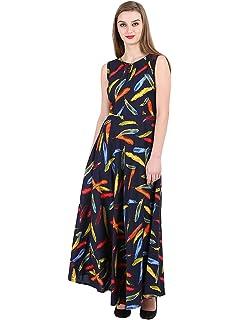 dff5a044667f 16 Always Women's Multi Black Dress, Western Dresses,Maxi Dress- Fancy Dress  for