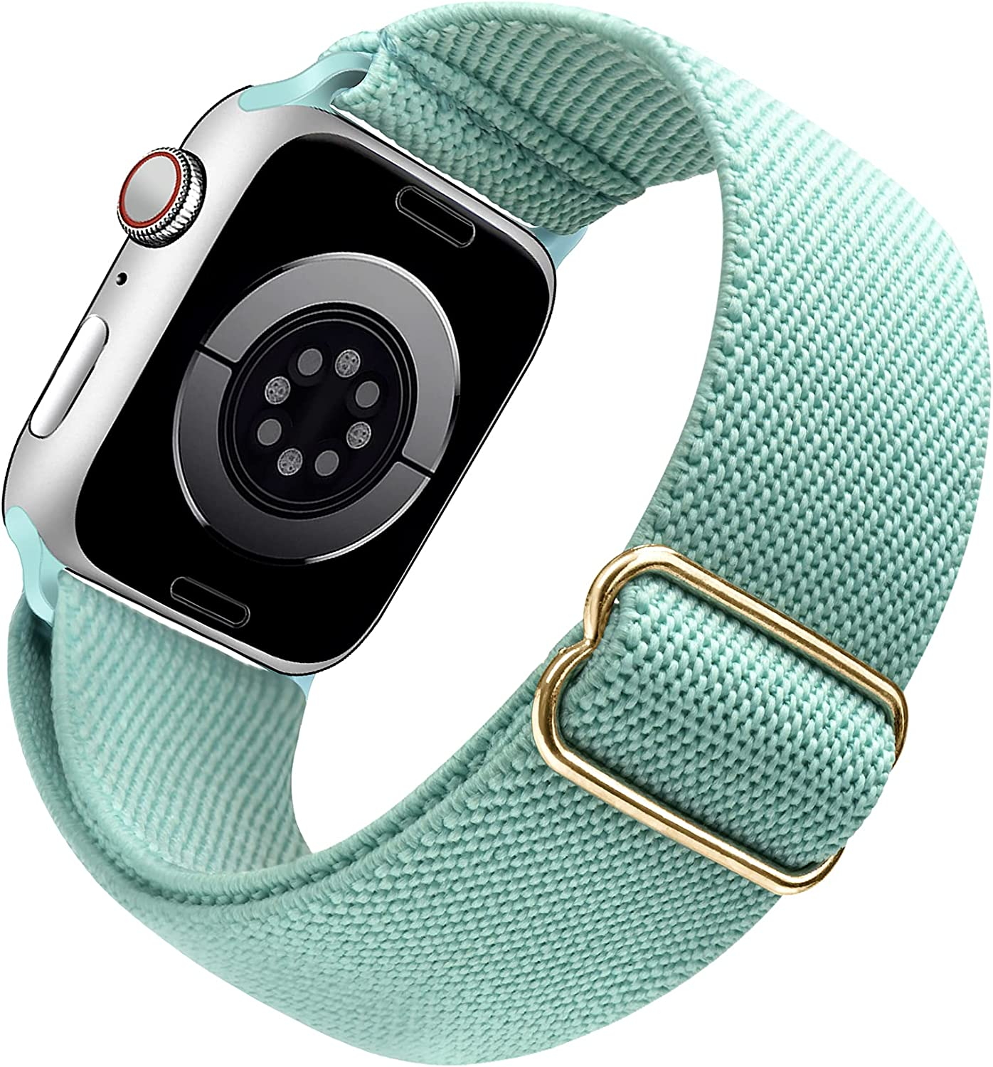 Arae Stretchy Nylon Watch Band Compatible with Apple Watch Band 44mm 42mm Adjustable Elastic Sport Band for iWatch Series 6 5 4 SE 3 2 1 Women Men - Green, 42/44mm