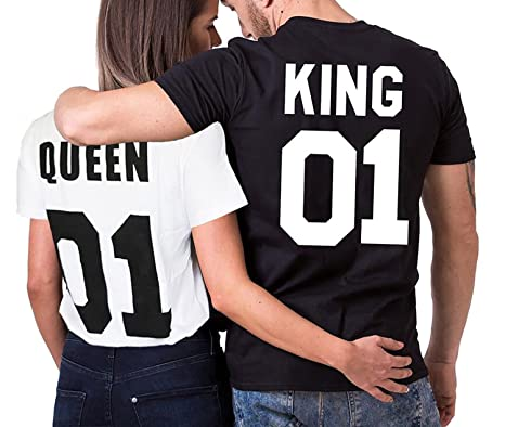 43c65bb745b5c King Queen T-Shirt Impresión 01 2 Piezas de Manga Corta Rey Reina Regalo de San  Jorge Camisa Casual para Amante  Amazon.es  Ropa y accesorios