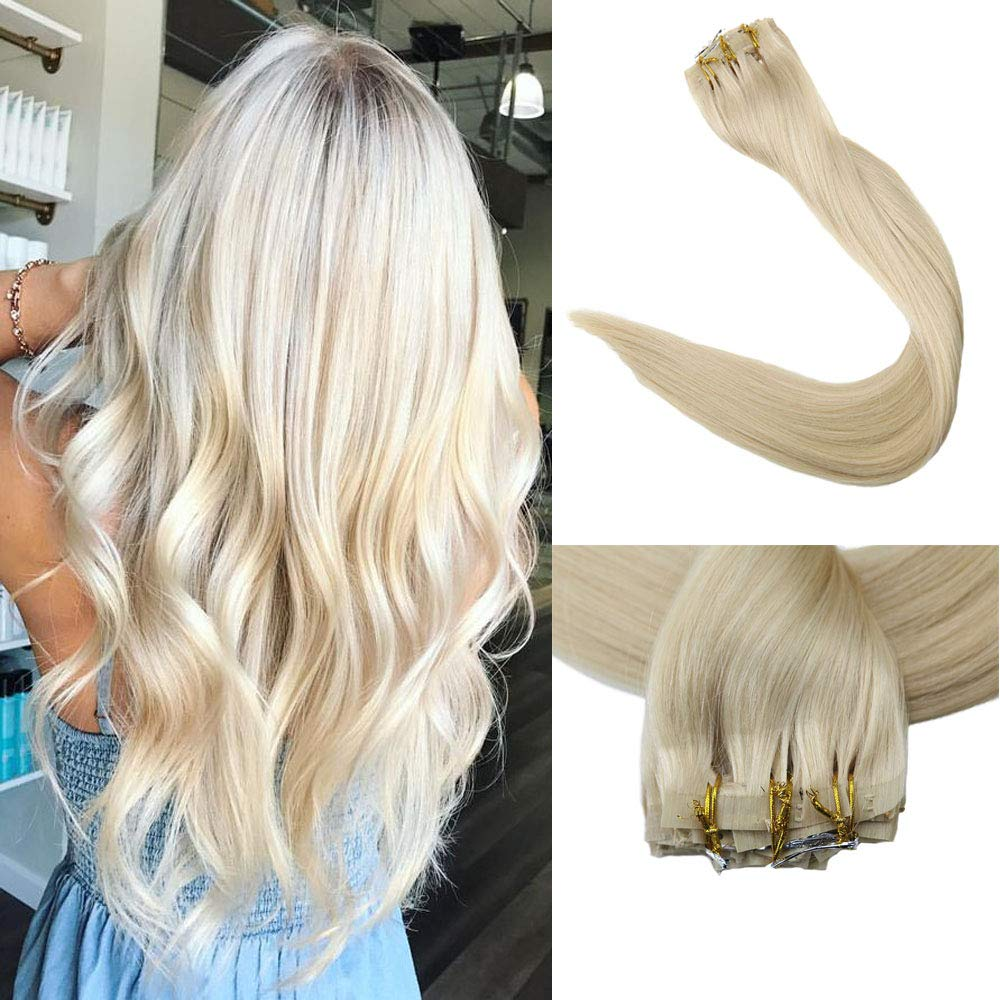 Full Shine 8 Pieces 20 inch 120g Seamless #60 Blonde Clip Hair Extensions Full Head Real Remy Hair Extensions With Clip 100% Real Human Hair Straight Clip in Extensions