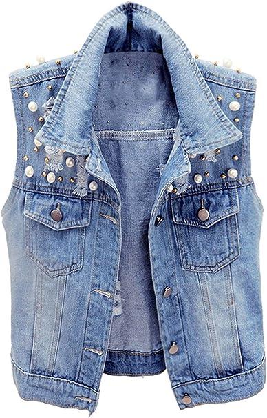 Dilgul Damen Denim Weste /Ärmelloses Knopf Umlegekragen Zerrissene Jeans Jacke mit Taschen