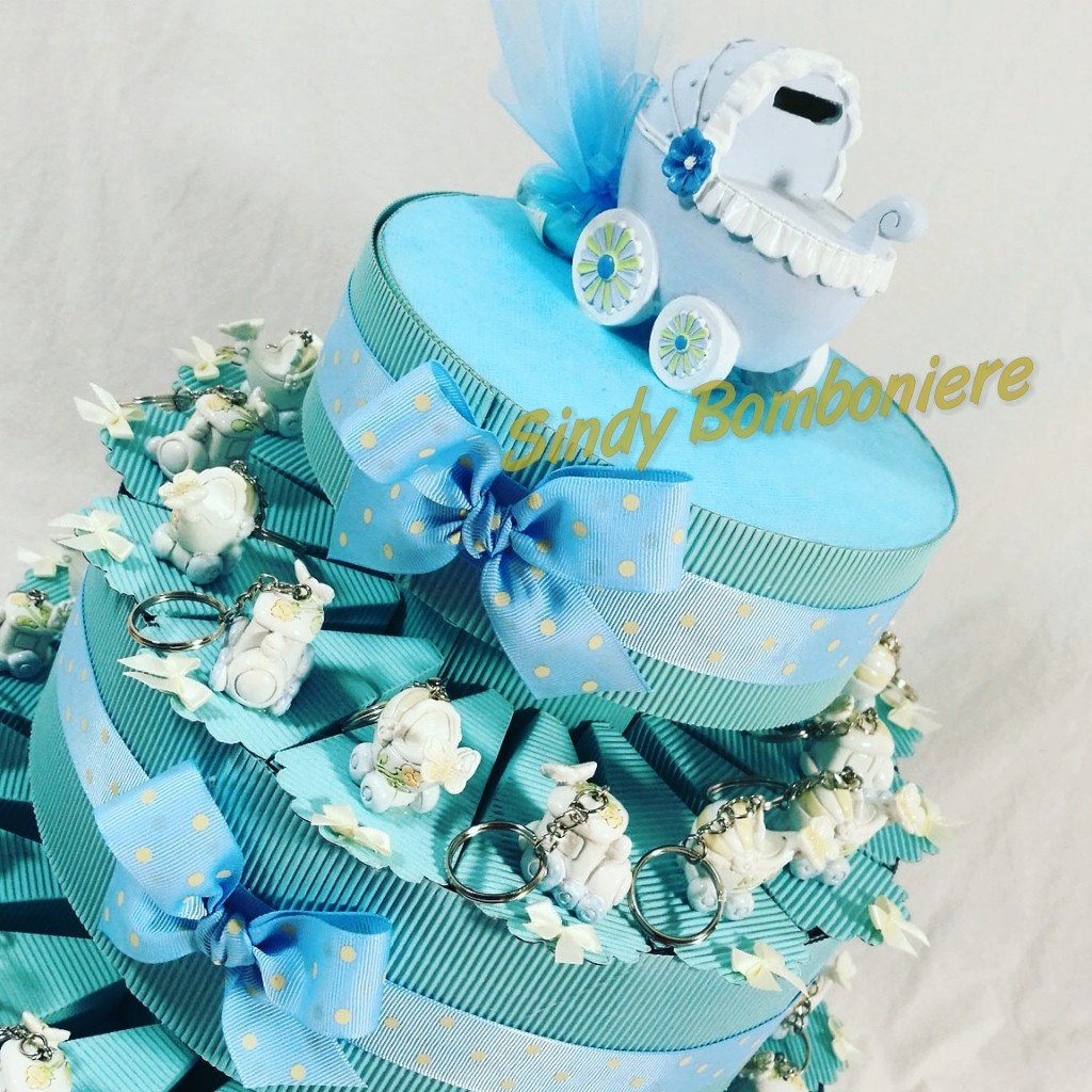 Torta 90 Fette  Sindy GÂteau Dragées Pour Baptême avec ourson Landau et hippocampe torta 60 fette