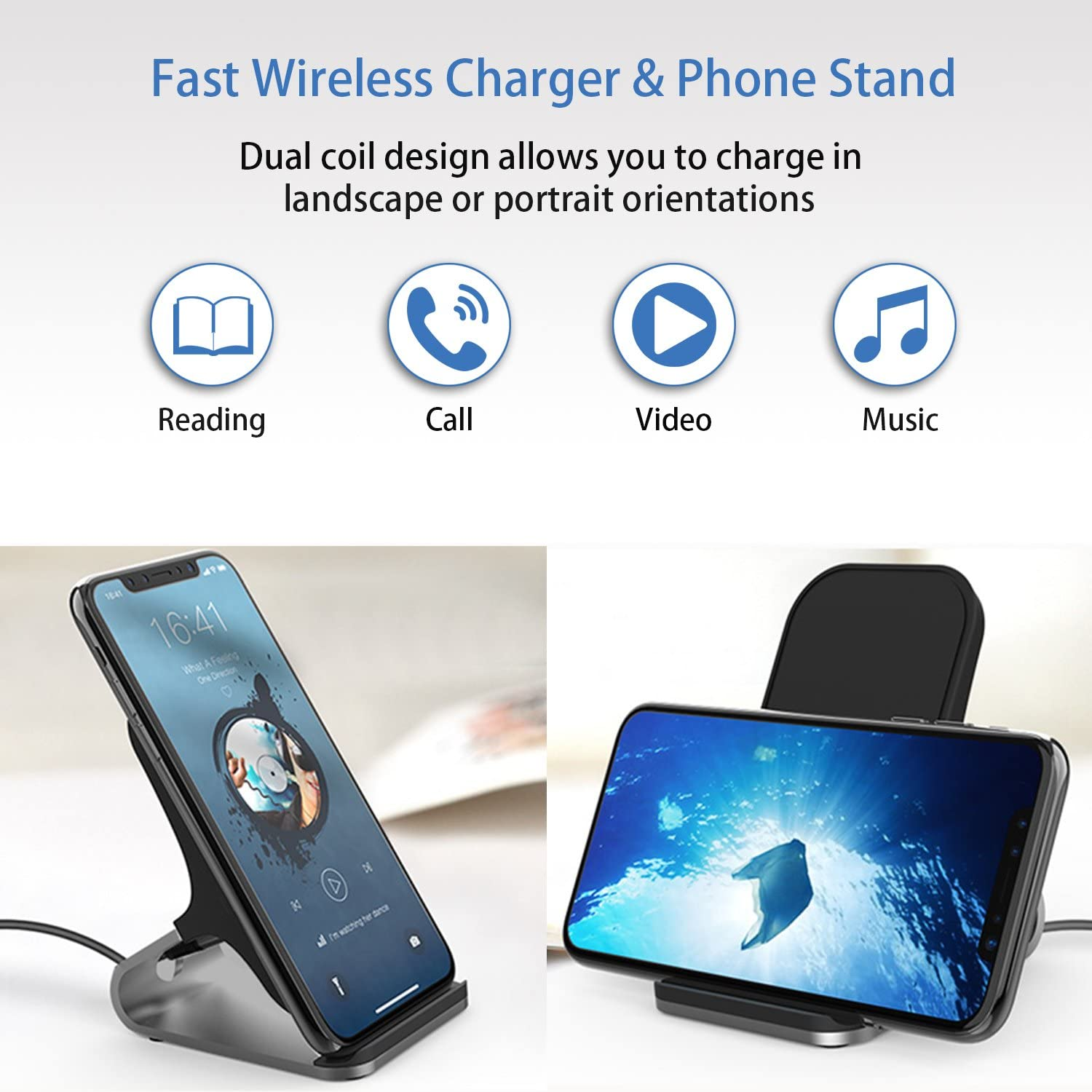 WELUV Wireless Charger Qi-Certified 10W Fast Wireless Charger Pad Station Compatible with iPhone X XR XS Max 8 Plus,Samsung S9//S9+//S8//S8+//Note 8 and More,2 Coils Heat Disspation Powerport Stand Black