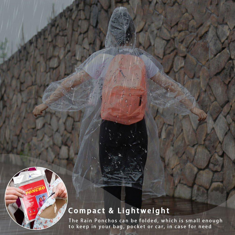 Vaxiuja Impermeables Desechables Lluvia Poncho con Capucha Transparente,Desechable e Impermeable Emergencia Raincoat para Senderismo y Acampada Chubasquero ...