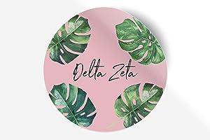 "Delta Zeta Sticker Greek Sorority Decal for Car, Laptop, Windows, Officially Licensed Product, Monogram Design 5"" x 5"" - Pink Palm"