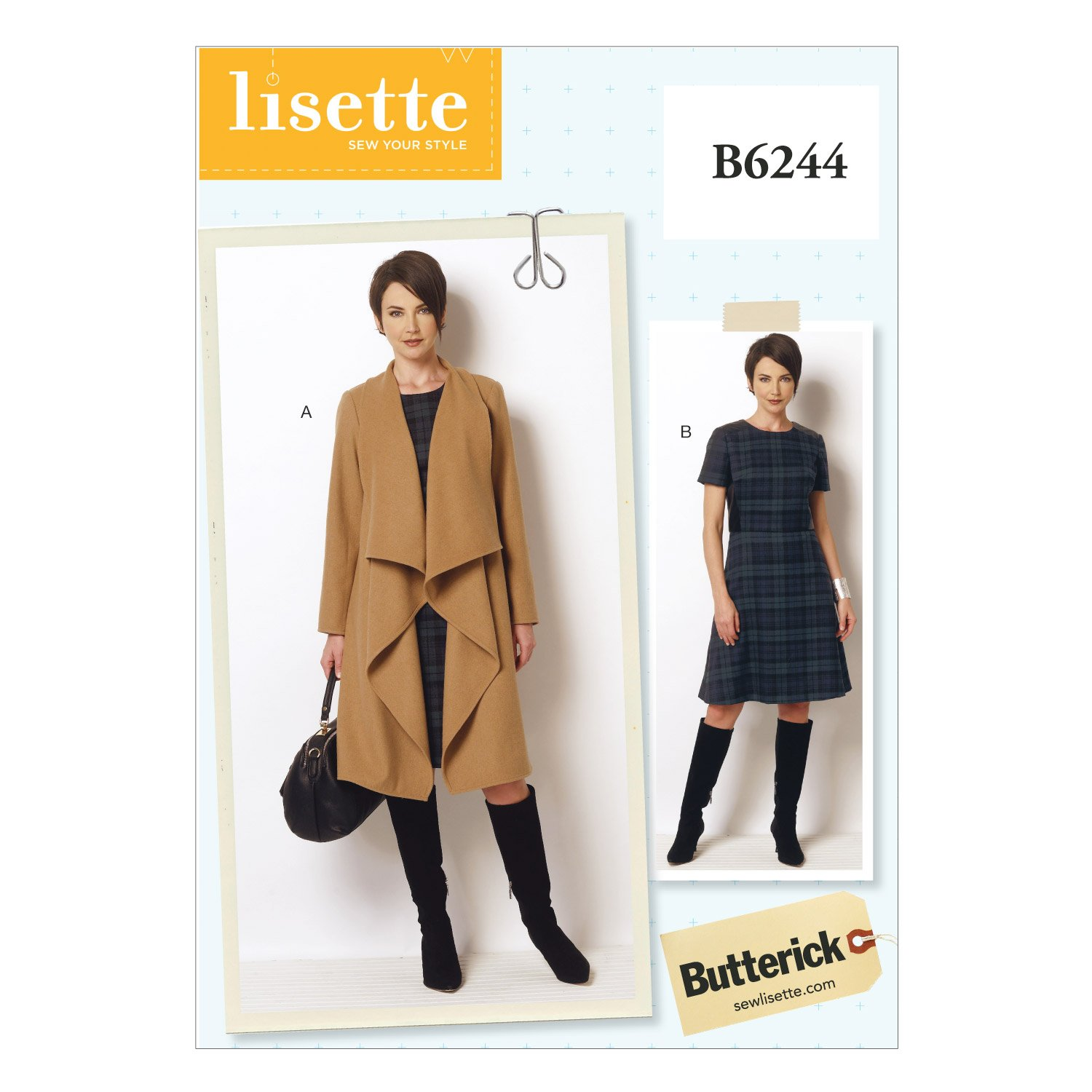 Butterick Patterns 6244 B5 Sizes 8/10/12/14/16 Misses/Women's Coat and Dress The McCall Pattern Company B6244B50