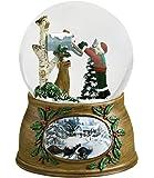 Child and Dog Checking Mailbox Musical Glass Christmas Glitterdome Snow Globe