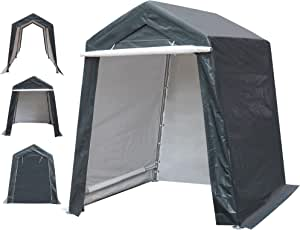 DOIFUN 6x6 ft Outdoor Storage Shelter with Rollup Zipper Door Portable Garage Kit Tent Carport Shed for Motorcycle Gardening Vehicle ATV and Car, Gray, 6'X6'