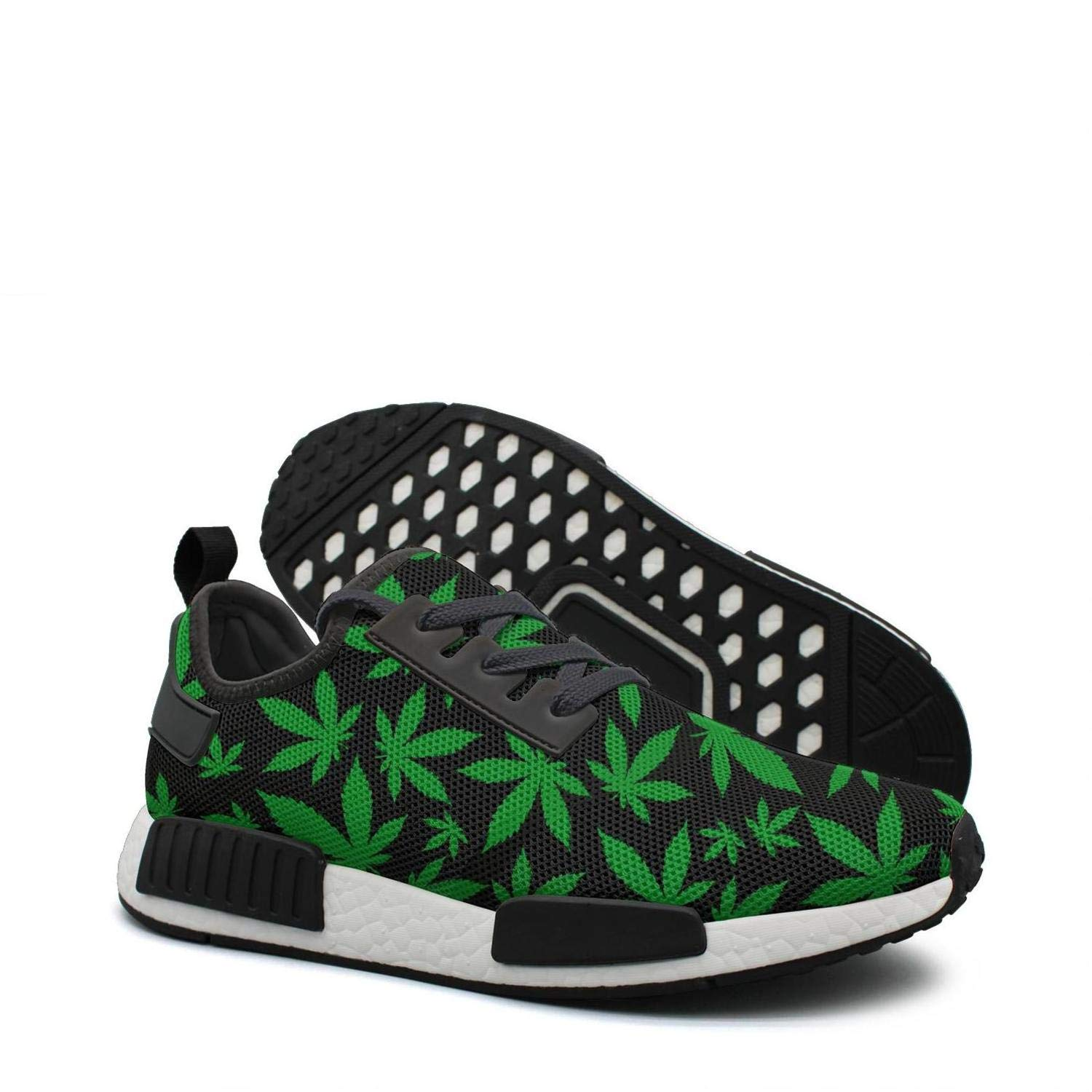 finest selection 4b3bb a2645 Amazon.com: Black Green Cannabis Leaf distance running shoes ...